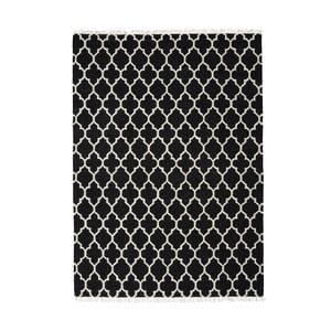 Čierny ručne tkaný vlnený koberec Linie Design Arifa, 140x200cm