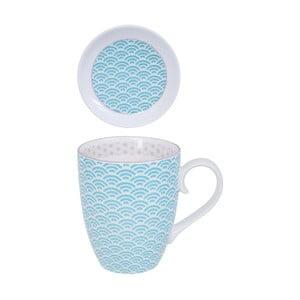 Modro-biely hrnček s tanierikom Tokyo Design Studio Star/Wave, 380 ml