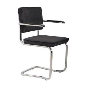 Sada 2 čiernych stoličiek s opierkami Zuiver Ridge Kink Rib