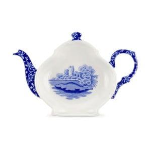 Sada 4 bielo-modrých porcelánových podnosov na čajový sáčok Spode Blue Italian