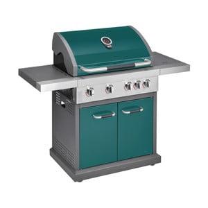 Zelený plynový gril so 4 samostatne ovládateľnými horákmi, teplomerom a bočným ohrievačom Jamie Oliver Pro