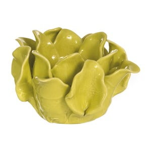 Keramický svietnik Lotos, žltozelený