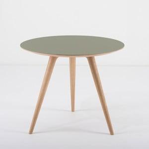 Príručný stolík z dubového dreva sozelenou doskou Gazzda Arp, Ø 55 cm