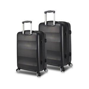 Sada 2 čiernych cestovných kufrov na kolieskach s USB porty My Valice LASSO Cabin & Medium