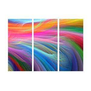 3-dielny obraz Farbené vlnenie