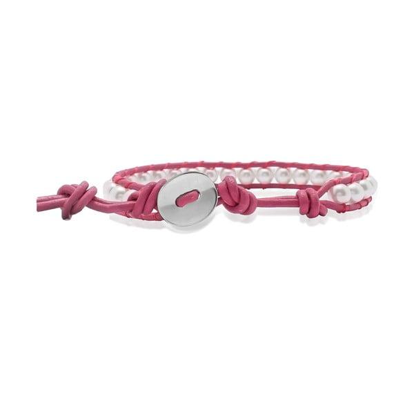 Ružový náramok z pravej kože s perlami Lucie & Jade