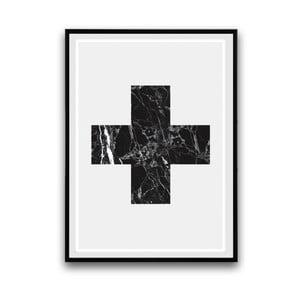 Plagát v drevenom ráme Big cross, 38x28 cm