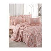 Ružový pléd na dvojlôžko s plachtou a s obliečkami na vankúše Anna, 200 x 235 cm