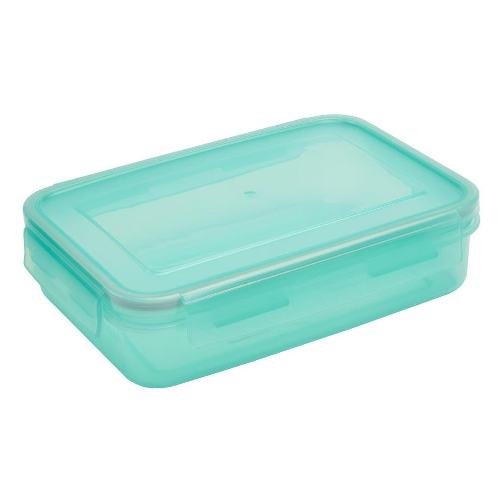 Zelenomodrá dóza s vrchnákom na jedlo Addis Clip And Close Rectangular Blue Haze, 1,1 l