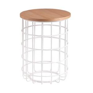 Biely odkladací stolík sdoskou vdekore dubového dreva sømcasa Elmo