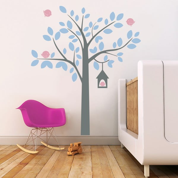 Samolepka na stenu Strom a vtáčikovia, 2 archy, 70x50 cm