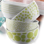 Sada 4 porcelánových misiek Geometry, zelené