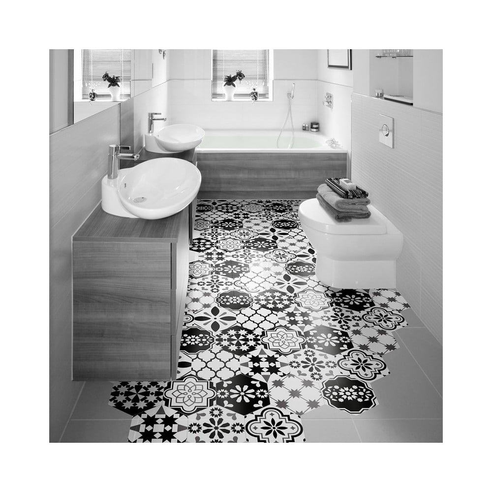 Sada 10 vodoodolných samolepiek na podlahu Ambiance Luis, 20 × 18 cm