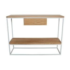 Biely konzolový stolík s doskou z dubového dreva Take Me HOME Lubin, 100×30cm