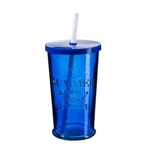 Sada 4 modrých pohárikov s viečkom a slamkou SUMMER FUN II, 500ml