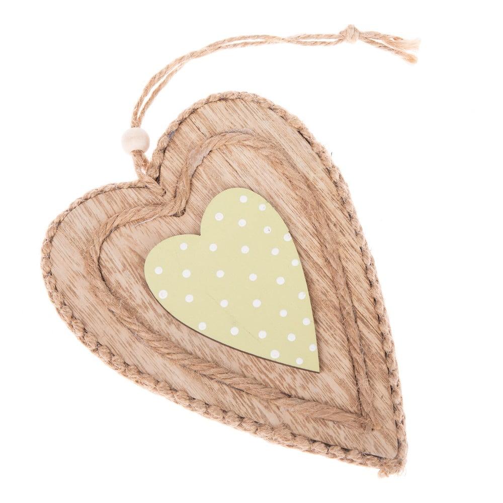 Zelené drevené dekoratívne závesné srdce Dakls Green Heart