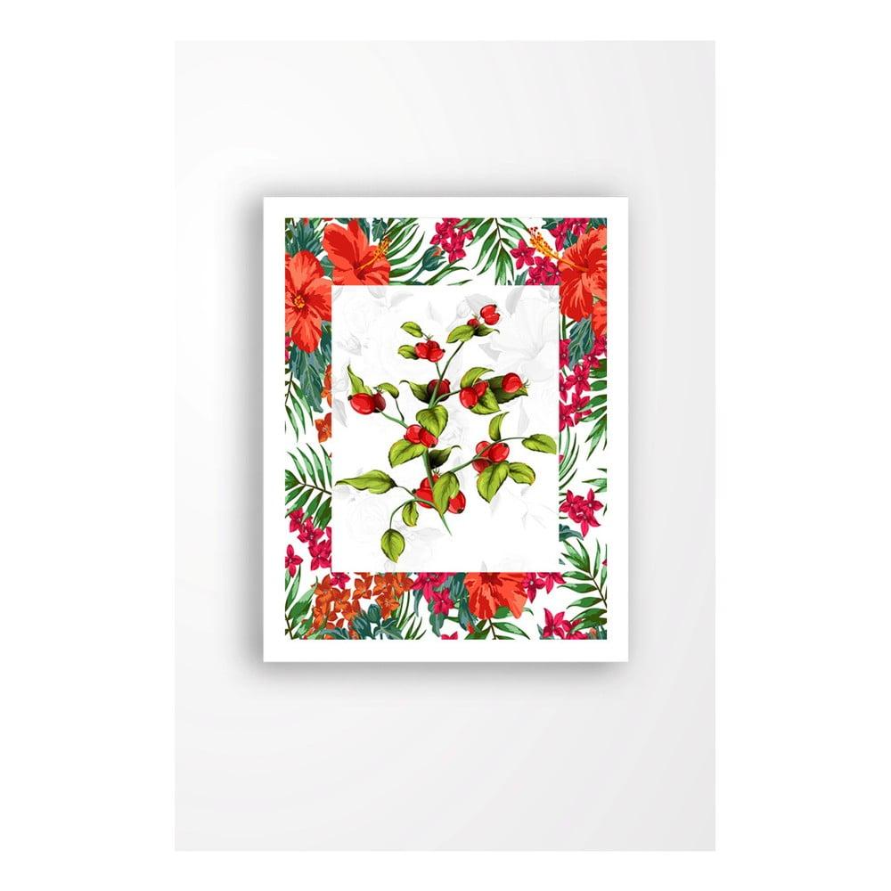 Nástenný obraz na plátne v bielom ráme Tablo Center Rose Hips Red, 29 × 24 cm