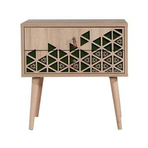 Nočný stolík s 2 zásuvkami Two Green, 40×60 cm