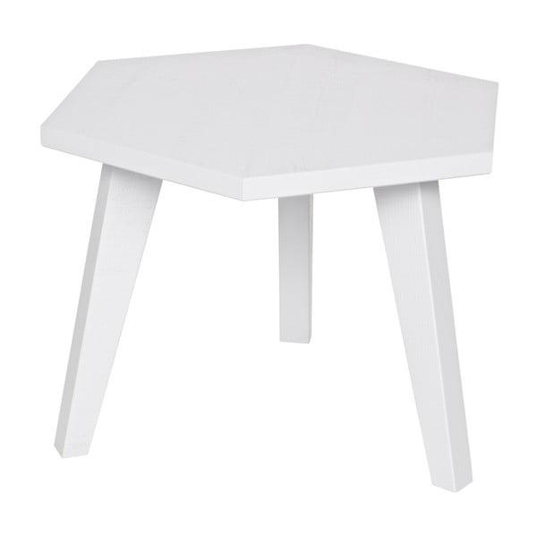 Biely odkladací stolík z borovicového dreva WOOOD Hex