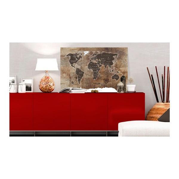 Nástenka s mapou sveta Bimago Wooden Mosaic 120×80 cm