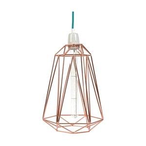 Svetlo so zlatým tienidlom a modrým káblom Filament Style Diamond #3
