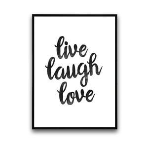Plagát v drevenom ráme Live laugh love, 38x28 cm