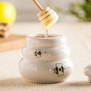 Keramická dóza na med s viečkom a drevenou naberačkou Just Mustard Honey
