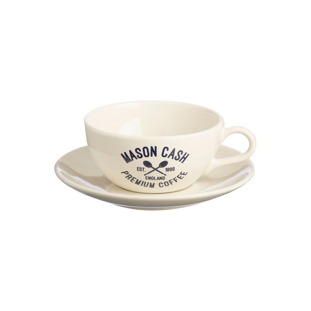 Biela šálka s tanierikom Mason Cash Varsity Cappuccino