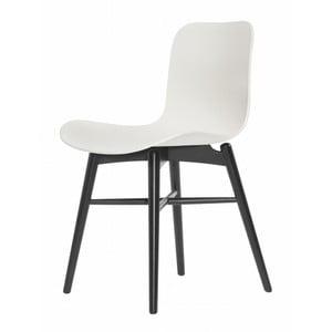 Biela jedálenská stolička z masívneho bukového dreva NORR11 Langue Stained