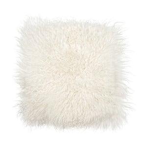 Biely kožušinový podsedák s dlhým vlasom Arctic Fur Puro, 37 × 37 cm