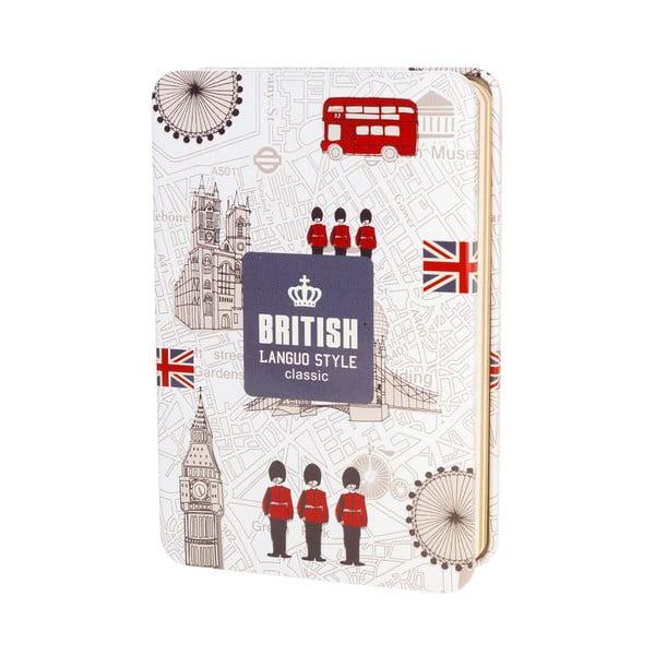 Plechový zápisník British, biely