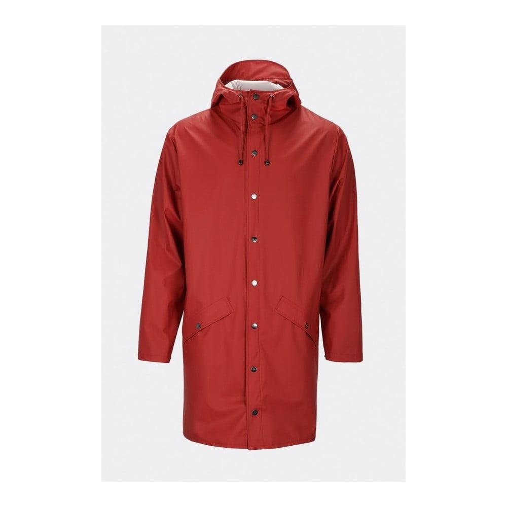Tmavočervená unisex bunda s vysokou vodoodolnosťou Rains Long Jacket, veľkosť XS/S