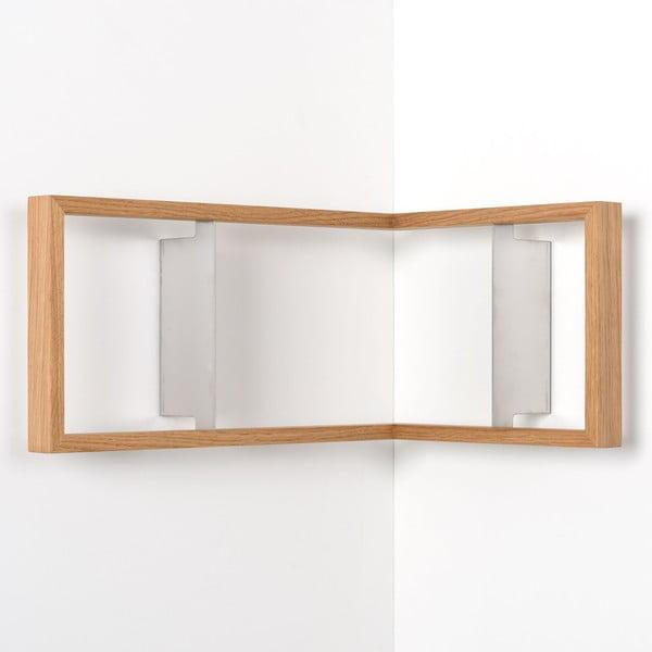 Rohová polica na knihy z dubového dreva das kleine b b1, výška 22cm