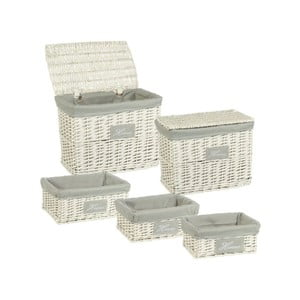 Set 5 prútených boxov Cosas de Casa Chic Home, svetlý