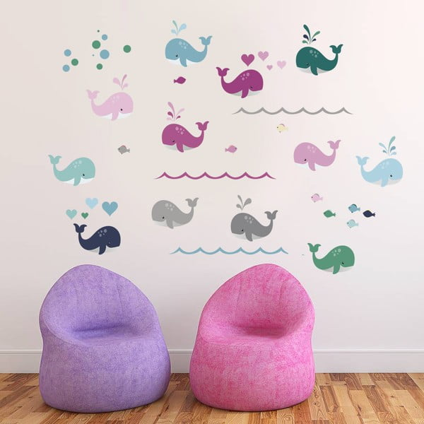 Dekoratívna samolepka na stenu Farebné veľryby