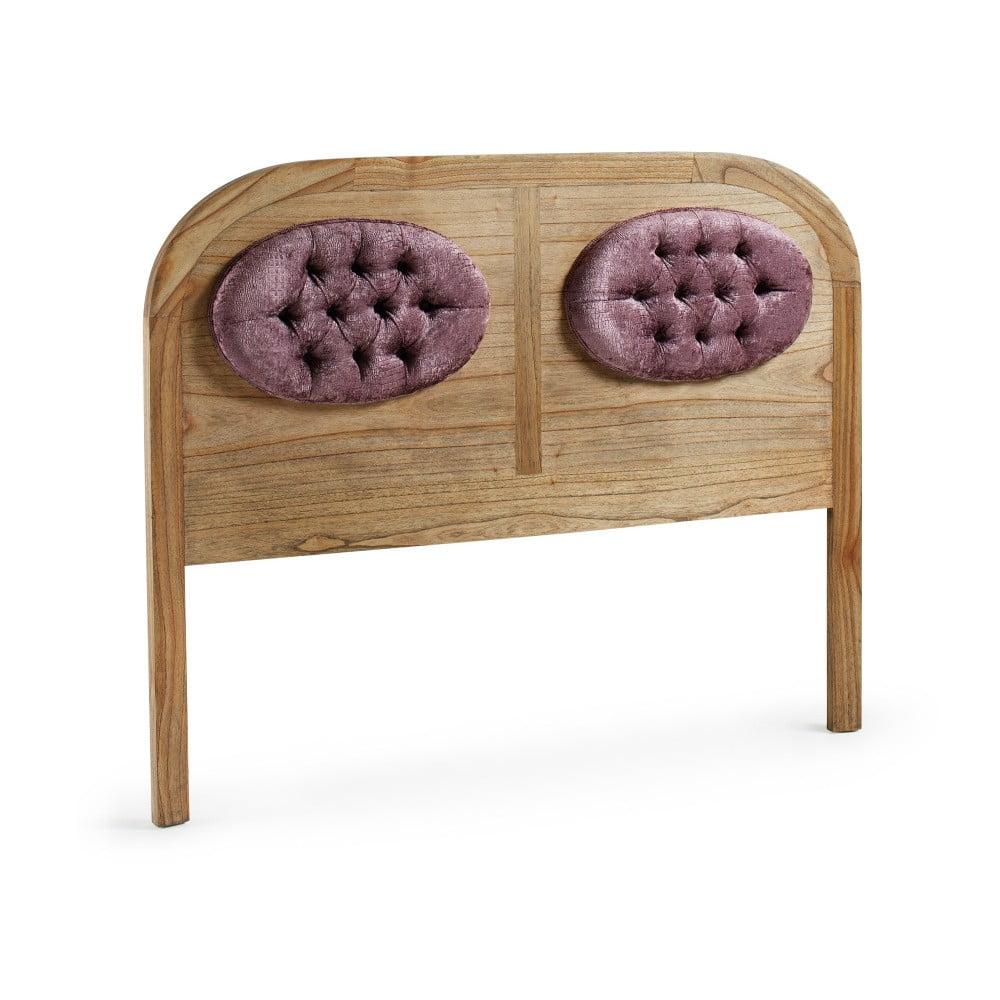 Čelo postele z dreva mindi s fialovým čalúnením Moycor