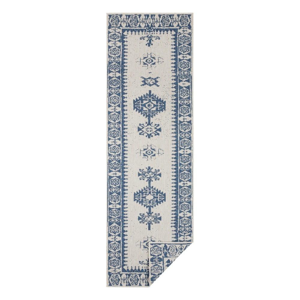 Modro-krémový vonkajší koberec Bougari Duque, 80 x 250 cm