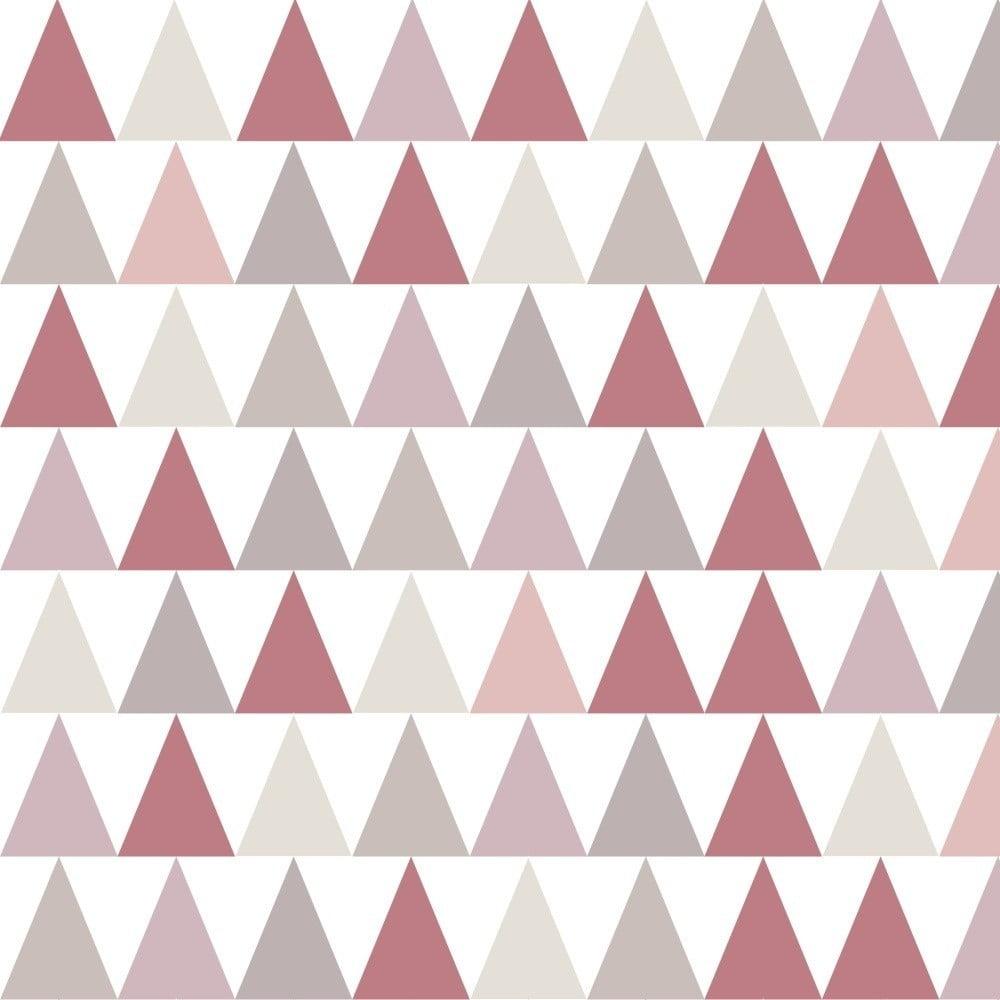 Tapeta do detskej izby s ružovými detailmi Art For Kids Triangles, 48 × 1000 cm
