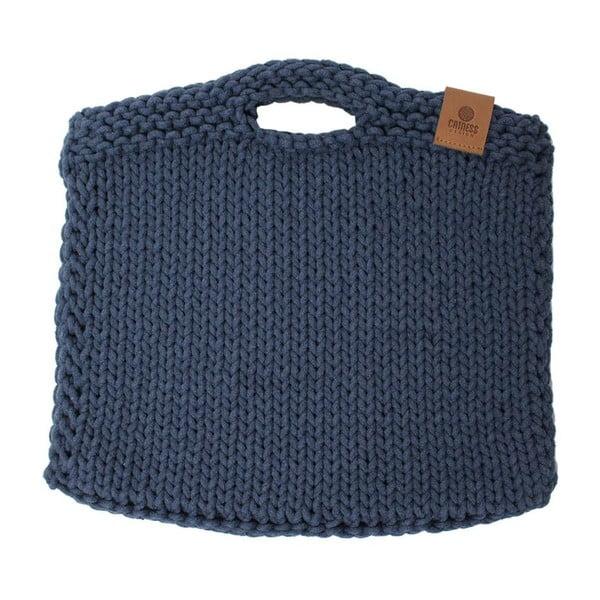 Pletená kabelka Catness, modrá, 35x38 cm