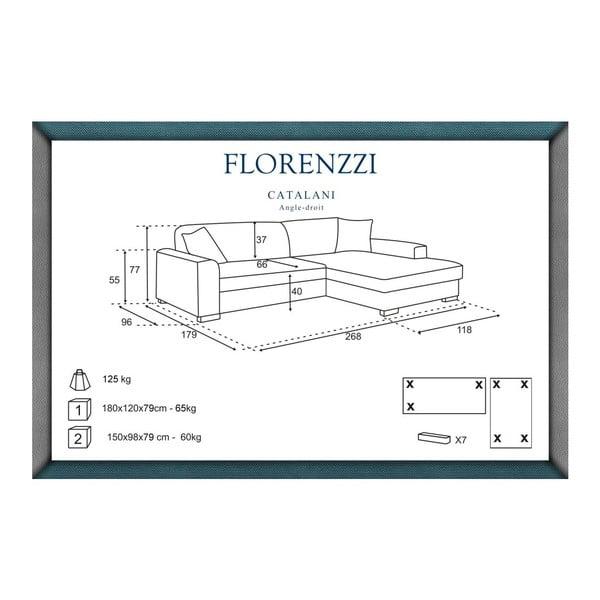 Béžová pohovka Florenzzi Catalani s leňoškou na pravej strane