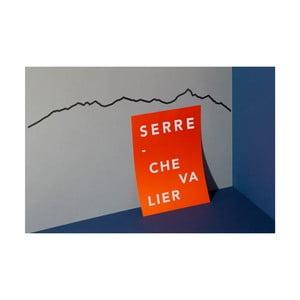 Čierna nástenná dekorácia so siluetou mesta The Line Serre Chevalier