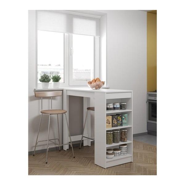 Biely barový stôl s bielou doskou TemaHome Aravis