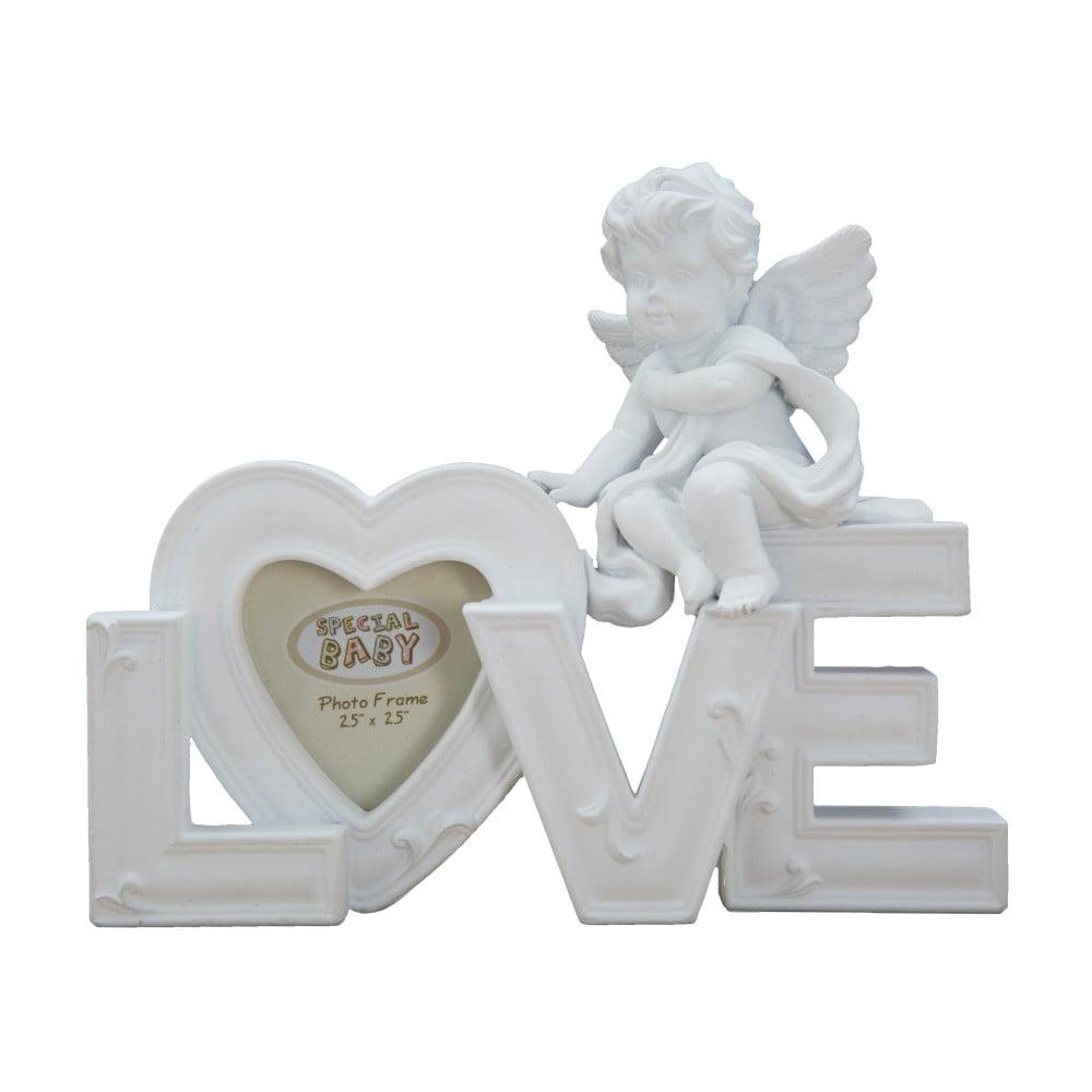 Biela dekorácia s fotorámčekom Mauro Ferretti Baby Love, na fotografiu 5 x 5 cm