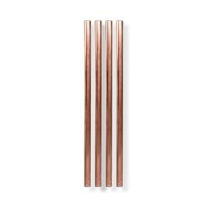 Sada 4 medených kovových slamiek W&P Design, dĺžka 12,7 cm