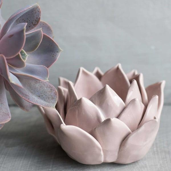 Keramický svietnik Lotos, ružový