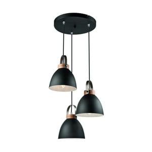 Čierne závesné svietidlo pre 3 žiarovky Lamkur Danielle