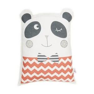Červený detský vankúšik s prímesou bavlny Apolena Pillow Toy Panda, 25 x 36 cm