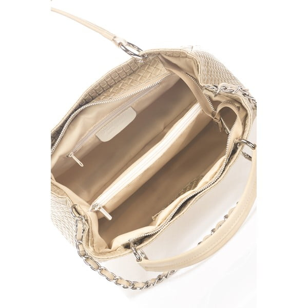 Béžová kožená kabelka Massimo Castelli Jaymie