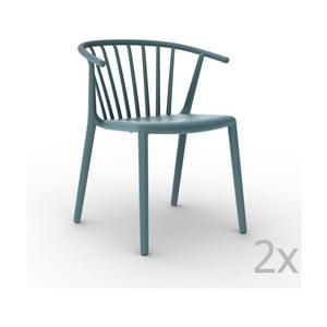 Sada 2 modrých záhradných stoličiek Resol Woody