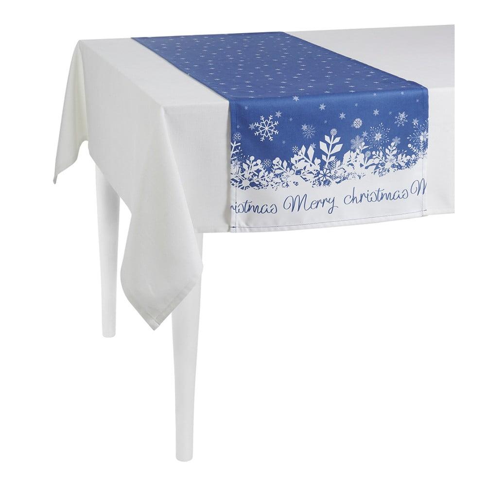 Modrý behúň na stôl Apolena Honey Christmas, 40 × 140 cm